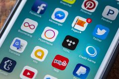 LAS VEGAS, NV - Wrzesień 22 2016 - Pływowa muzyki App ikona Na App Zdjęcia Stock