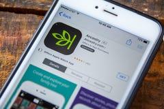 LAS VEGAS, NV - Wrzesień 22 2016 - Rodowodu iPhone App W obrazy royalty free