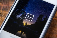 LAS VEGAS, NV - Wrzesień 22 2016 - Adobe Lightroom App Na Appl Obraz Stock