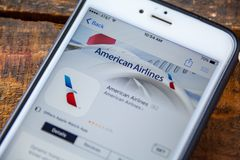 LAS VEGAS, NV - Wrzesień 22 2016 - American Airlines iPhone Ap Obraz Stock