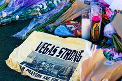 Memorial Message of the Las Vegas Shooting victims. LAS VEGAS - OCT 07 ,2017 : Memorial Message of the Las Vegas Shooting victims on the Las Vegas Strip Near the Royalty Free Stock Image