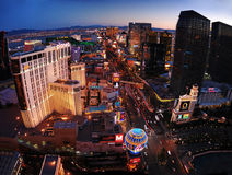 Las Vegas Panorama. Aerial panorama view of Las Vegas Strip at Sunset stock images