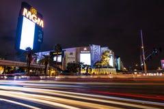 Las Vegas pasek i MGM Uroczysty kasyno przy nocą - Las Vegas, Nevada, usa Zdjęcie Stock