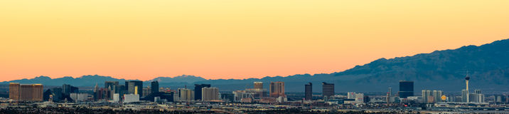 Las Vegas pasek przy zmierzchem Obrazy Royalty Free