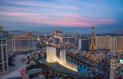 Las Vegas paska widok od wysokiego wzrosta balkonu Widok z lotu ptaka miasto Obrazy Royalty Free