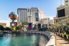 Las Vegas, Planet Hollywood hotel, Bellagio kasyno i hotel, i zdjęcie stock
