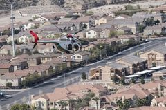Las Vegas Police Helicopter in Flight Stock Photo