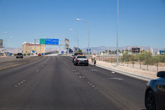 Las Vegas Police pulling vehicle over. Las Vegas police performing traffic stop Stock Photography