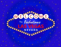 Las Vegas red and white lettering with white stars on blue background. Travel Postcard royalty free illustration
