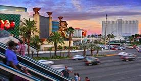 Las Vegas remsa på solnedgången, Las Vegas, Förenta staterna royaltyfria bilder