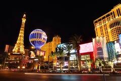 Las Vegas remsa på natten Arkivbild