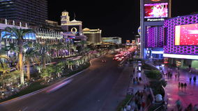 Las Vegas Resort Trafic. Editorial time lapse clip of Caesars Palace, Bellagio, Paris and other resorts on the Las Vegas strip stock footage