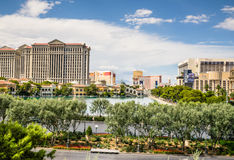 Las Vegas Resorts viewed from Lake Bellagio Stock Image