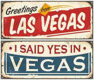 Las Vegas retro tin sign design set Stock Image