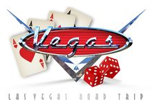 Las Vegas Road Trip Art. With playing cards and dice with retro chrome car V8 emblem fum royalty free illustration