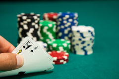 Las vegas series. Winning hand ace king and chips Stock Images