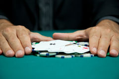 Las vegas series. Four of a kind winning hand with chips Stock Image