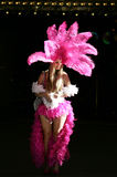 Las Vegas Showgirl. Photo of a beautiful Las Vegas Showgirl in a traditional American showgirl outfit taken downtown Las Vegas Stock Photo