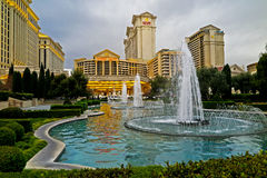Las Vegas Sights. A beautiful fountain in Las Vegas, right in front of the most famous casino on the strip stock photography