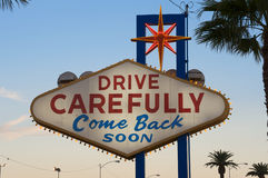 Las Vegas sign. Drive Carefully, Come Back Soon. Las Vegas sign. Icon of the city. Public domain Stock Photo