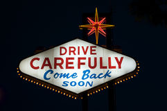 Las Vegas sign. Drive Carefully, Come Back Soon. Las Vegas sign. Icon of the city. Public domain Royalty Free Stock Images