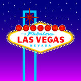 Las Vegas Sign. Welcome to Fabulous Las Vegas sign against purple night sky vector illustration