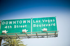 Las Vegas Sign. Las Vegas street sign with palm tree in background Stock Image