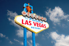 Las Vegas. Sign against fluffy clouds. Clipping path included for easy change of background Royalty Free Stock Images
