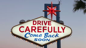 Las Vegas Sign Drive Carefully. Backside of the Welcome to Las Vegas sign.  Drive carefully, come back soon stock video