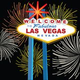 Las Vegas sign with fireworks. Iconic Las Vegas welcome sign with fireworks Royalty Free Stock Photography