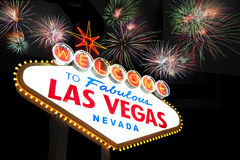 Las Vegas Sign with fireworks Royalty Free Stock Images