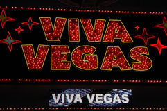 Las Vegas sign II. Color photo of neon casino sign in red and gold Royalty Free Stock Image