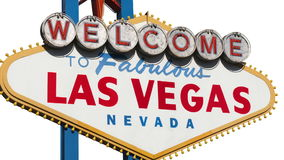 Las Vegas Sign Isolated with Zoom. Welcome to Fabulous Las Vegas sign isolated on white with zoom in stock footage