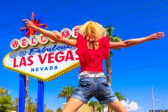 Las Vegas Sign Jumping royalty free stock images