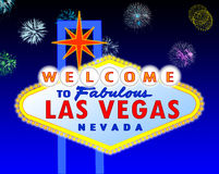 Las Vegas sign at night. Illustration of the neon illuminated Las Vegas sign Royalty Free Stock Images