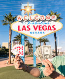 Las Vegas Sign - Poker Cards and Money Royalty Free Stock Image
