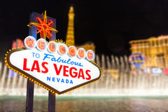Las vegas sign and strip background Stock Images
