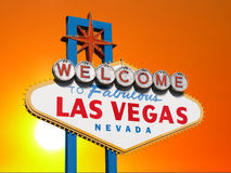 Las Vegas Sign with Sunset Sky Stock Photography