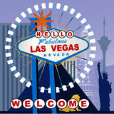 Las Vegas sign with a twist. Las Vegas Sign with HELLO and Welcome below - elements Stock Images