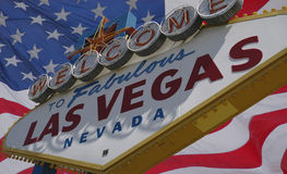 Las Vegas sign and USA flag royalty free stock photography