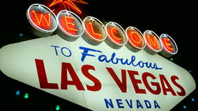 Las vegas sign, usa travel, neon light, stock footage