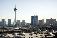Las Vegas skyline at daytime. The Las Vegas Strip is shown during the day Stock Photo