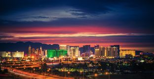 Las Vegas Skyline at Dusk. City of Las Vegas Skyline at Scenic Dusk. Colorful Lights of the World Famous Sin City. Nevada, United States royalty free stock photography