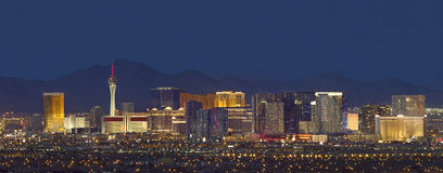 Las Vegas Skyline at Dusk. Horizontal photo of Las Vegas Citiscape with mountain backdrop Stock Photography