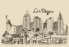 Las Vegas skyline engraved vector illustration Royalty Free Stock Photo