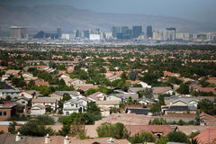 Las Vegas skyline and homes. The historic Las Vegas Strip and homes throughout the valley are shown during the day Stock Photography