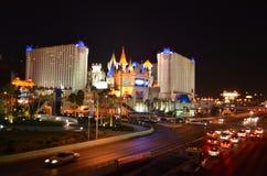 Las Vegas skyline by night. Las Vegas nightlife with neon lights Royalty Free Stock Images