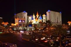 Las Vegas skyline by night. Las Vegas nightlife with neon lights Royalty Free Stock Photography