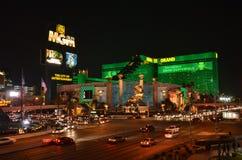 Las Vegas skyline by night. Las Vegas nightlife with neon lights Royalty Free Stock Image