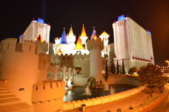 Las Vegas skyline by night. Las Vegas nightlife with neon lights Royalty Free Stock Photo